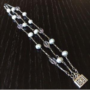 Handmade Pearl & Crystal Silver Bracelet